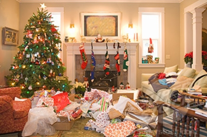 Messy Living Room After the Christmas Presents Have Been Opened